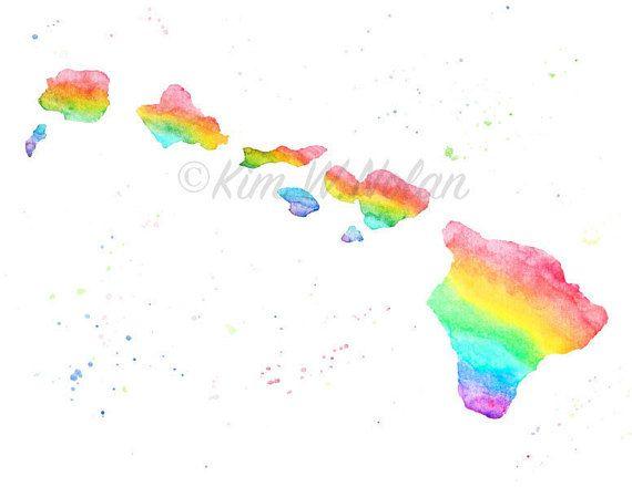 570x440 Aloha! Hawaiian Islands Rainbow Map Art This Listing Is