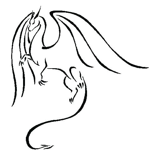 497x504 Easy To Draw Dragon Head Dragon Outline Drawing Easy To Draw Two