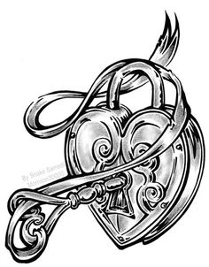 236x302 best heart lock key tattoo design outline images lock key