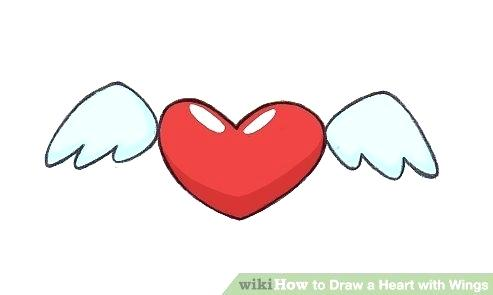 493x295 Drawing Hearts With Wings How To Draw A Heart With Wings Step