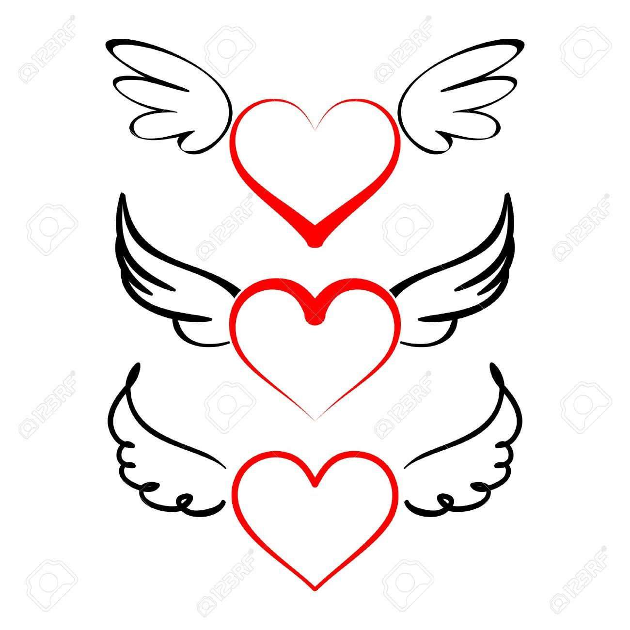 1300x1300 Stock Vector Tattoos Heart With Wings, Heart With Wings Tattoo
