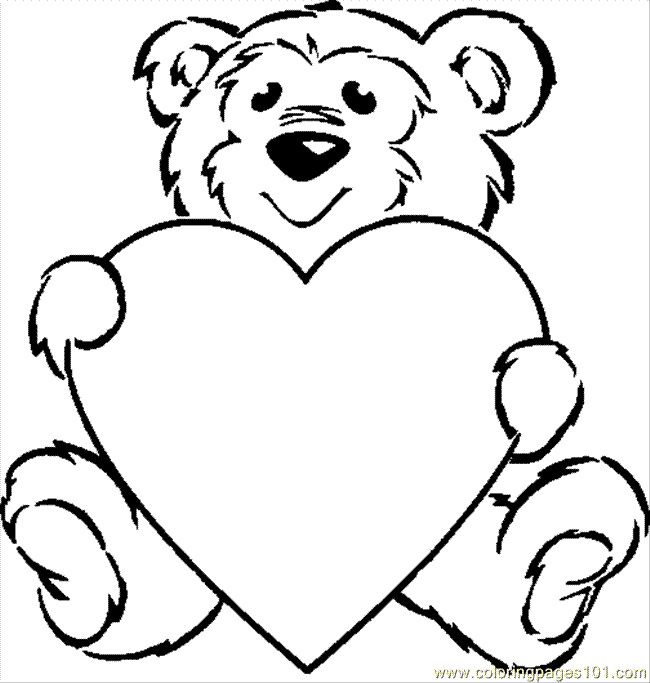 650x683 Teddy Bear Drawing With Heart Free Line Drawing Teddy Bear
