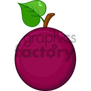 300x300 Royalty Free Rf Clipart Illustration Passion Fruit With Heart Leaf