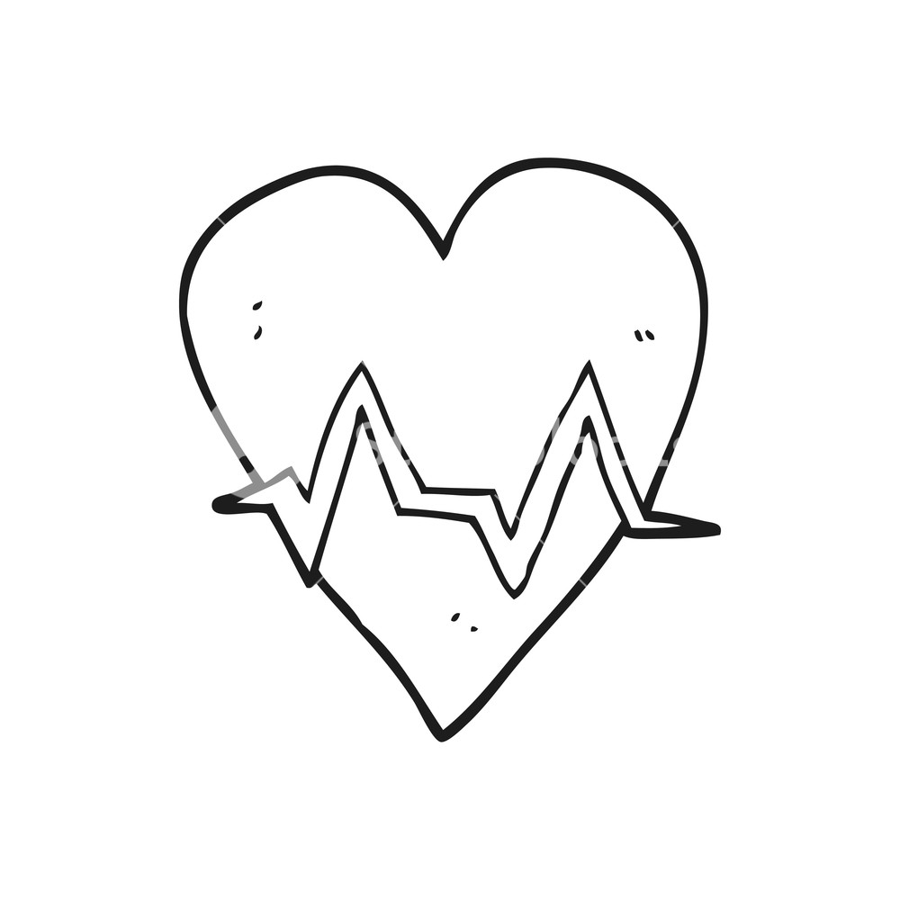 1000x1000 Freehand Drawn Black And White Cartoon Heart Rate Pulse Symbol
