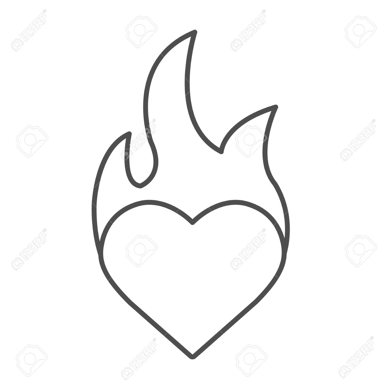 1300x1300 Heart On Fire Drawing Free Download Clip Art