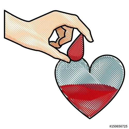 500x500 Drawing Of A Hand Holding A Heart Nip