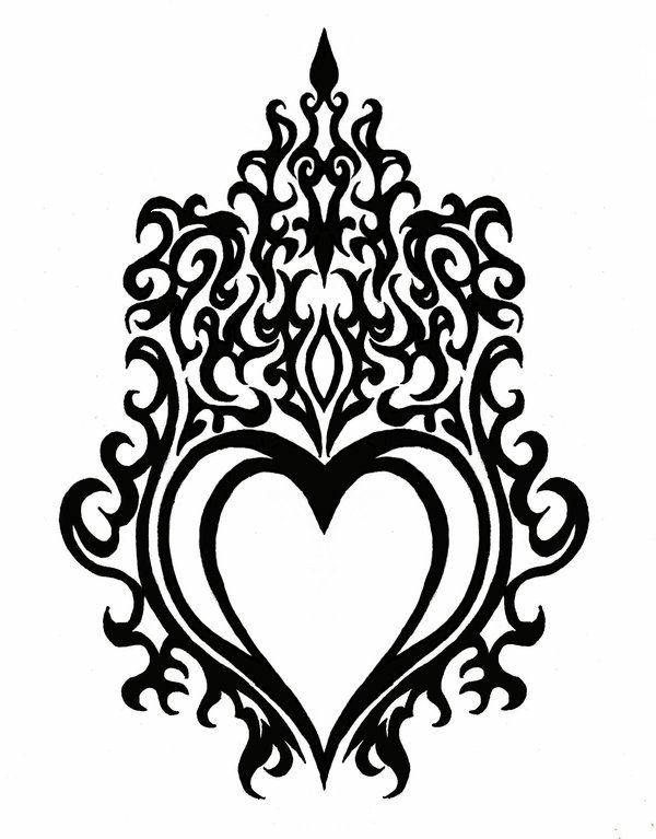 600x767 Download Heart With Flames Drawings Of Hearts With Clipart Png
