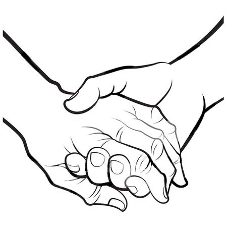 450x470 Holding Hands Clipart Black And White