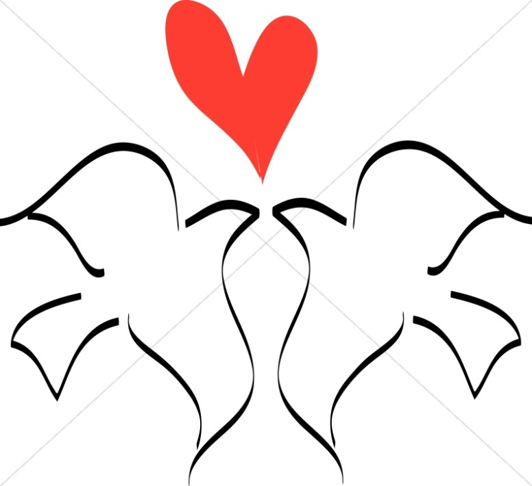 776x710 Love Birds With Heart Line Drawing Dove Clipart