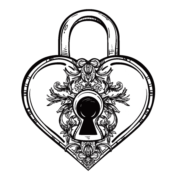 600x600 heart lock temporary tattoo and heart lock fake tattoos