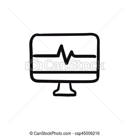 450x470 heart beat monitor sketch icon heart beat monitor vector sketch