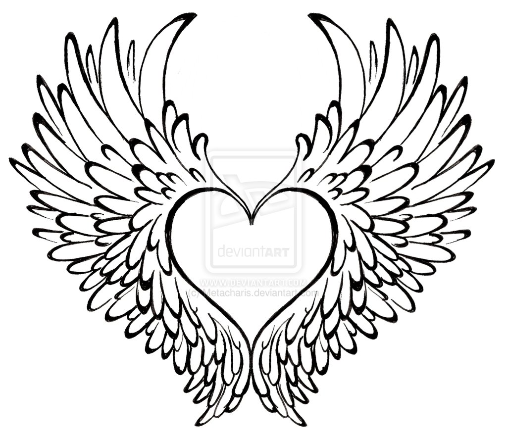 1024x887 Cool Heart Design Printable Coloring Pages With Angel Wings