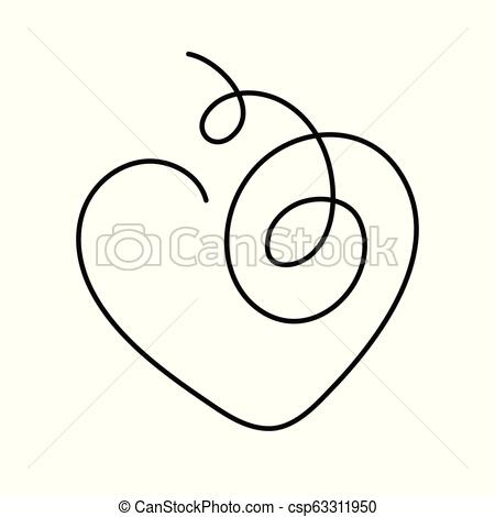450x470 Heart Continuous Line Drawing Vector Illustration With Editable