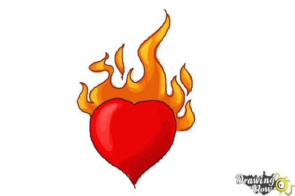 600x400 How To Draw A Heart On Fire
