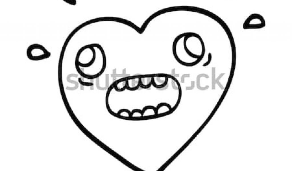 1024x600 Outline Drawing Of A Heart Line Drawing Cartoon Heart Panicking