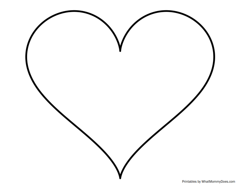 784x604 Super Sized Heart Outline Extra Large Printable Template