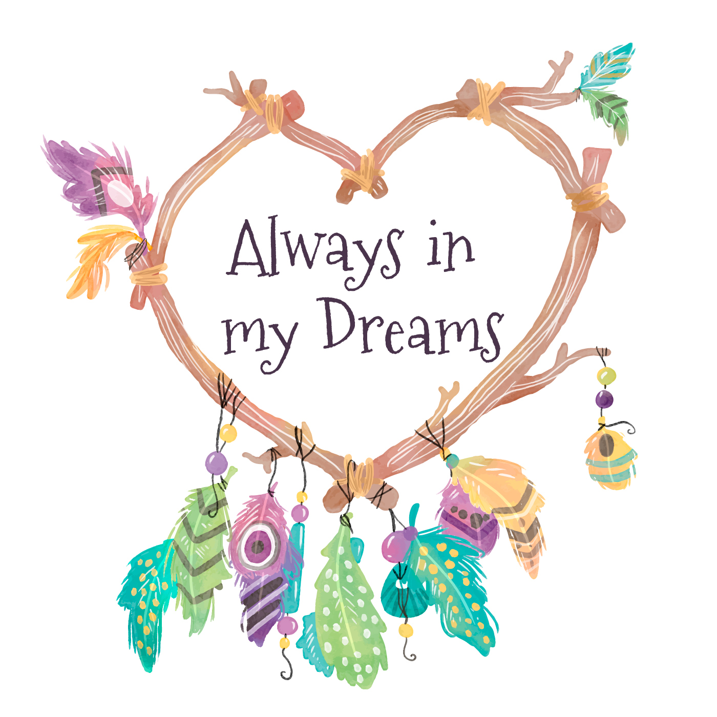 Heart Shaped Dream Catcher Drawing | Free download on ...