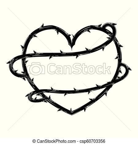 450x470 heart shape of thorns vector heart shape of thorns, border