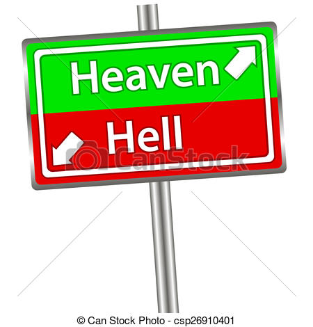 450x470 heaven and hell sign red and green street sign with words heaven