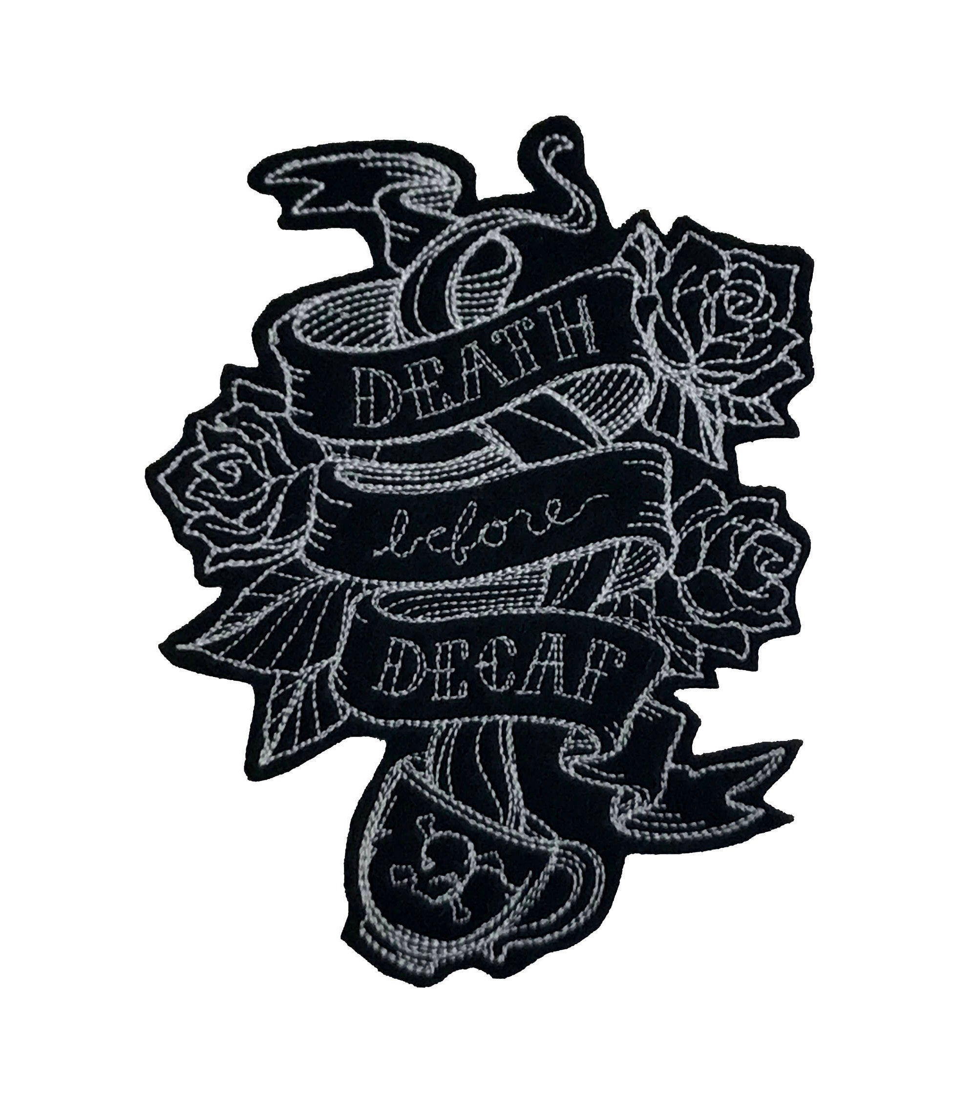 2000x2250 death before decaf coffee patch tumblr patch coffee lover etsy