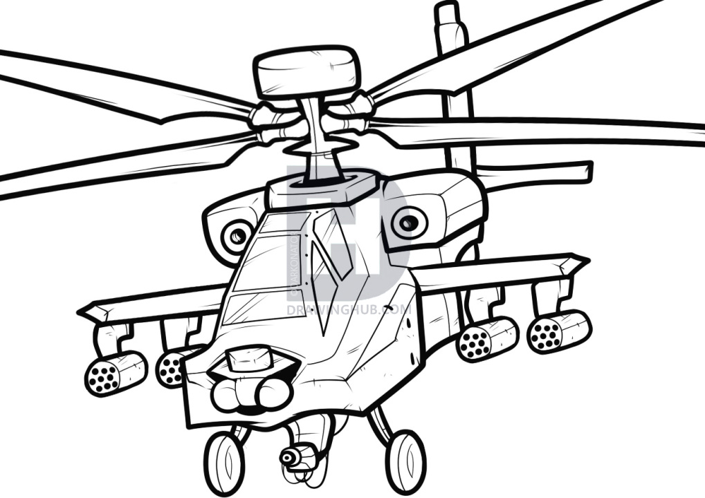 1019x720 How To Draw An Apache, Apache Helicopter, Step