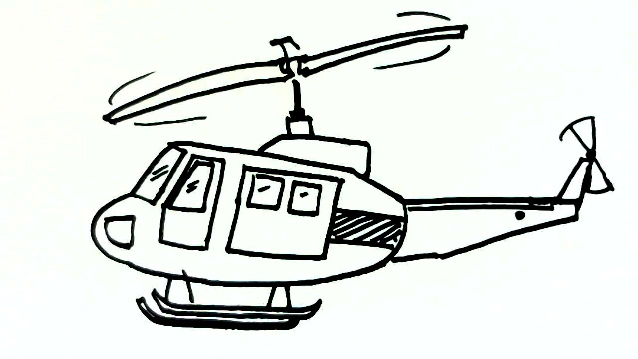 1280x720 How To Draw A Helicopter Or Chopper In Easy Steps For Children
