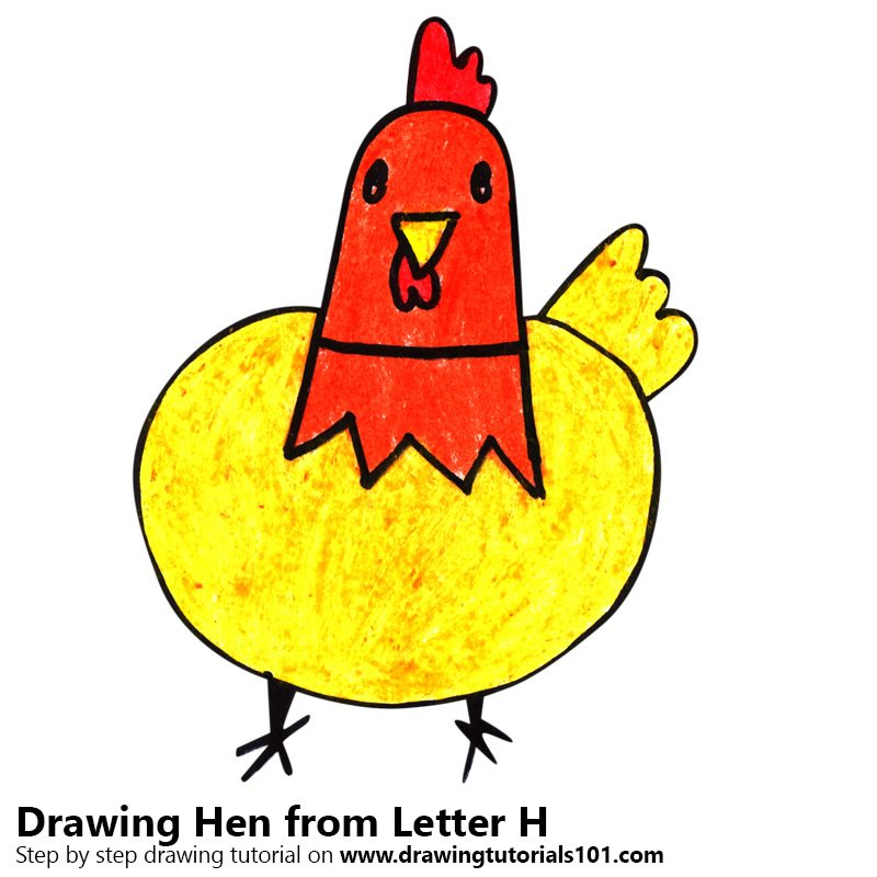 800x800 Learn How To Draw A Hen From Letter H