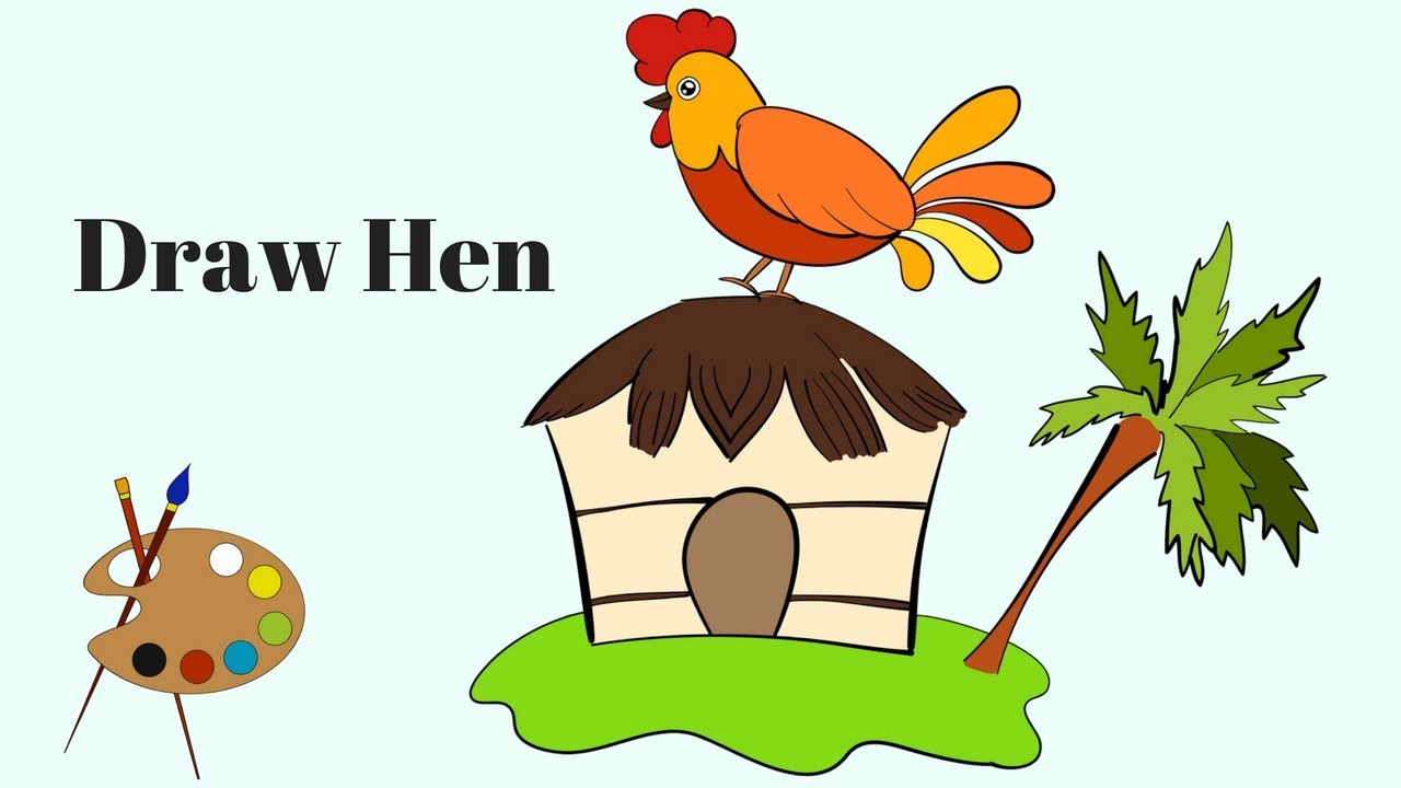 1280x720 how to draw a hen draw hen and its house learn to draw cartoon