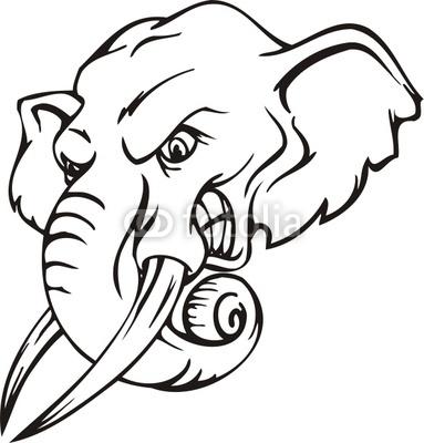 383x400 Elephant Simple Henna Clipart