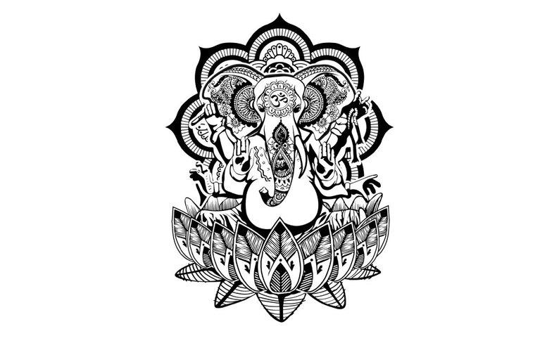 794x488 Ganesha Henna Temporary Tattoo Set Of Elephant Tattoo Etsy