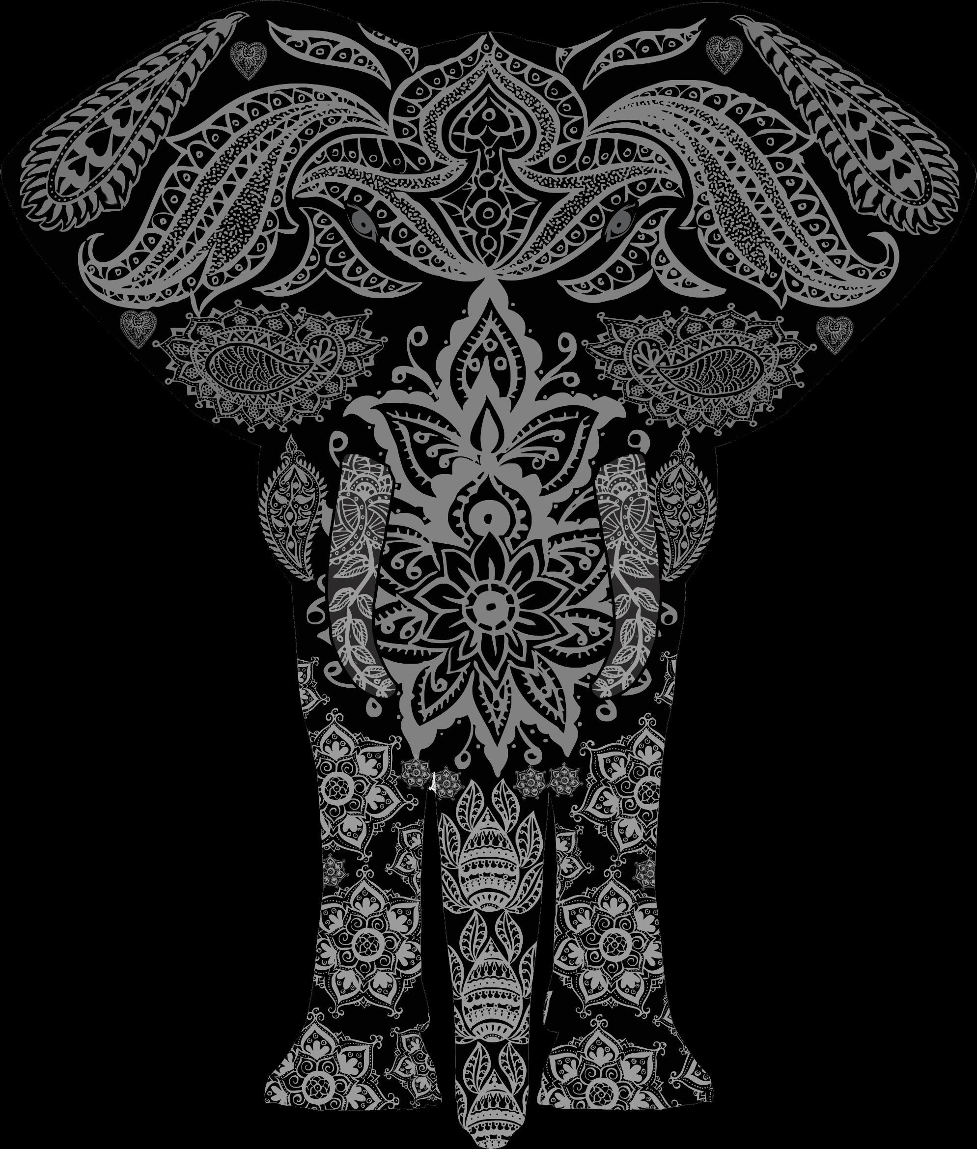 1989x2339 Henna Elephant Cliparts