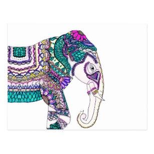 307x307 Henna Elephant Postcards Zazzle