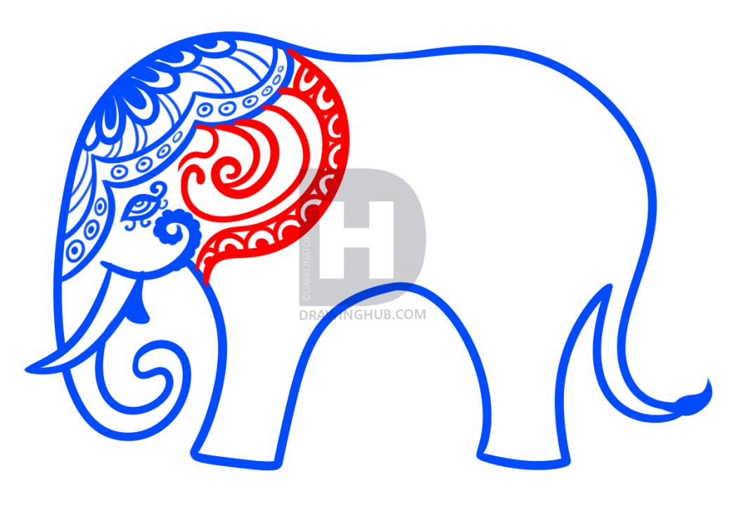 1041x720 Hindu Elephant Drawing Lesson, Step