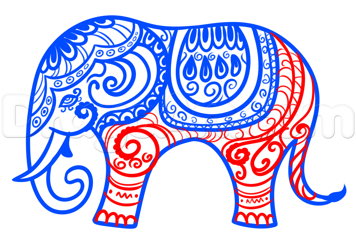 1189x822 Hindu Elephant Drawing Lesson, Step