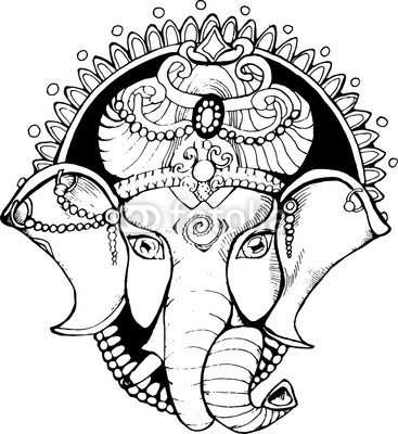 367x400 Illustration Of An Elephant Ganesha, A Hindu God Black And White