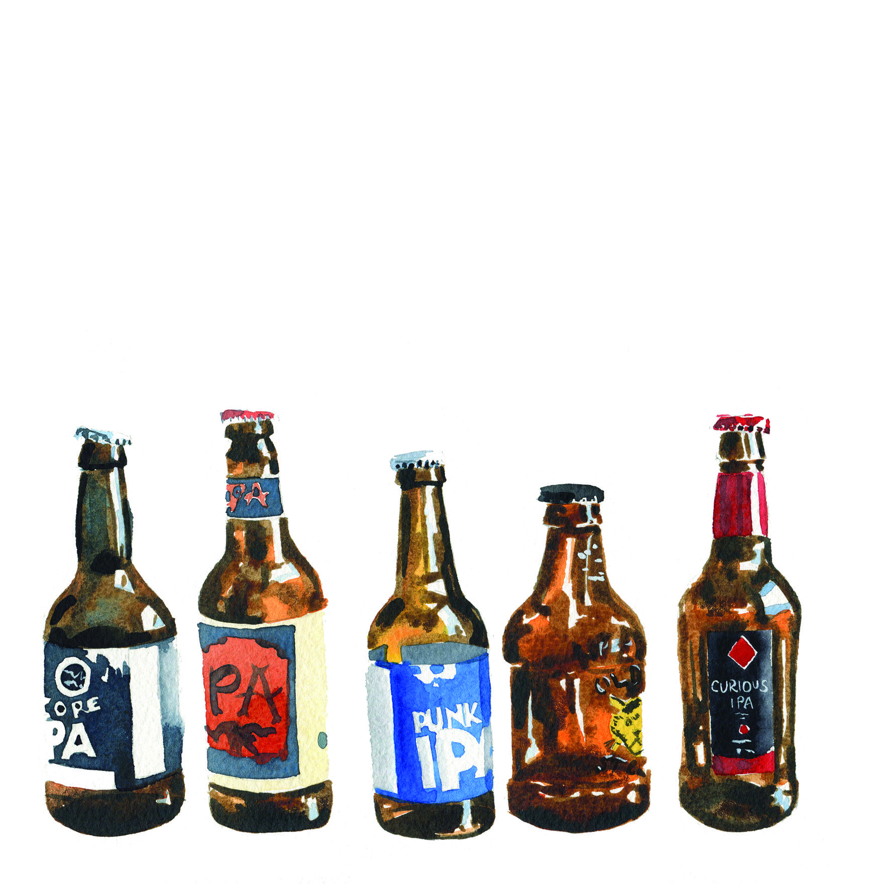 1750x1772 Watercolour Beer Bottles Paintings Inspiration Bottle Painting