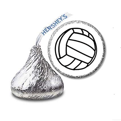 425x426 volleyball labelsstickers for hershey's kisses