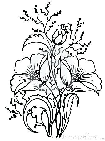 336x450 Flower Outline Drawing