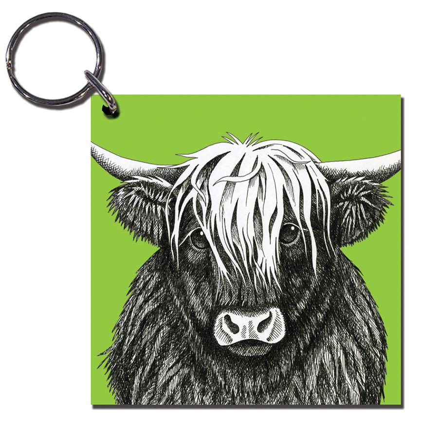 900x900 highland cow wooden keyring