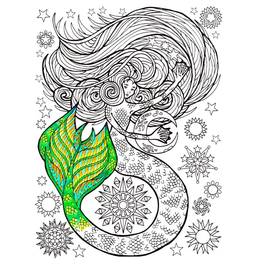850x850 Free Mermaid Colorings Staggering Photo Ideas Coloring Pages Image