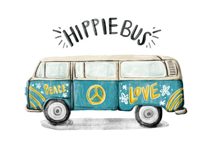 700x490 Hippie Bus Watercolor Vector