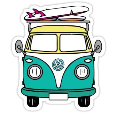 375x360 Hippie Van Sticker In Products Surf Stickers, Stickers