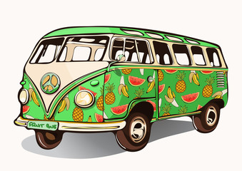 339x240 Hippie Vintage Bus, Retro Car With Airbrushing, Hand Drawing