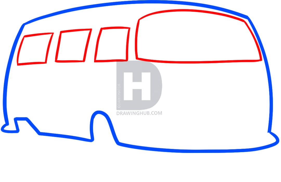 1080x701 How To Draw A Hippie Van, Step