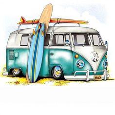 236x236 Vw Hippie Vans And Bugs In Bus Art