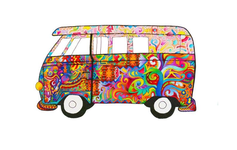 794x501 Vw Bus Art Gypsy Art Van Life Zentangle Psychedelic Etsy
