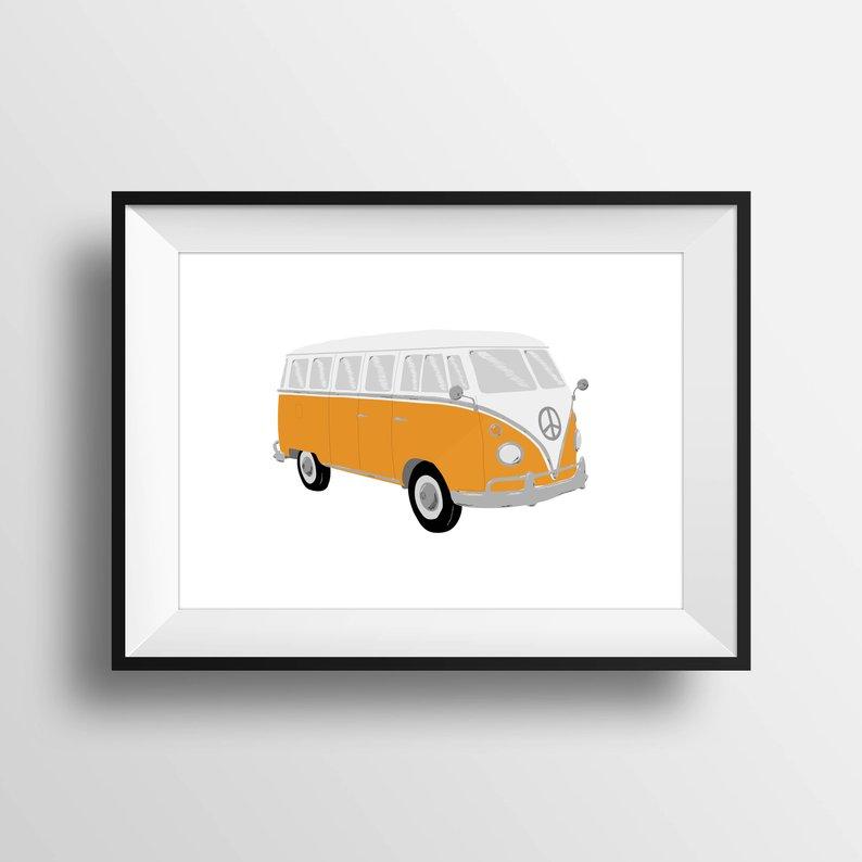 794x794 Volkswagen Bus Wall Art Vw Bus Drawing Digital Download Etsy