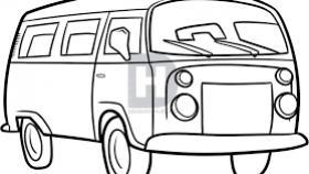 280x158 Vw Hippie Van Drawing Volkswagen Car