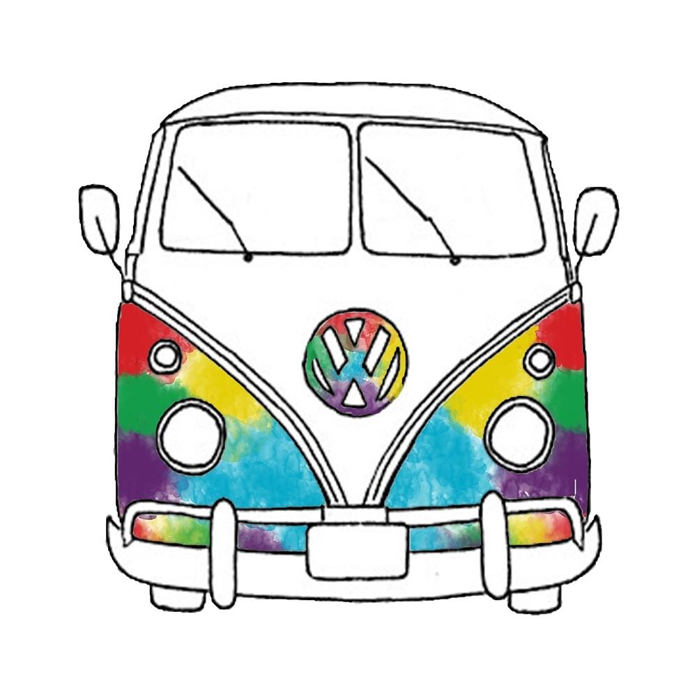 1000x1000 Watercolor Hippie Van