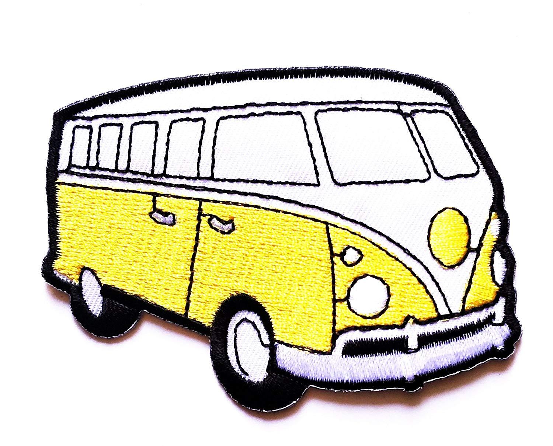 1500x1210 Yellow Camper Van Bus Car Hot Rod Hippie Peace Cartoon Patch Logo